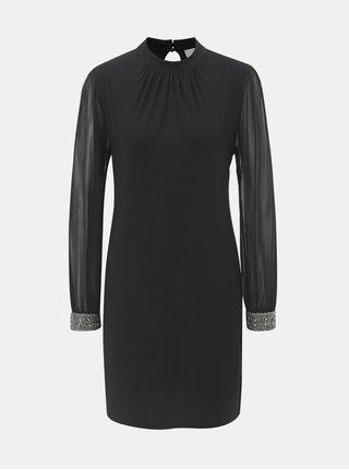 Rochie neagra cu terminatii decorative pe maneci Apricot