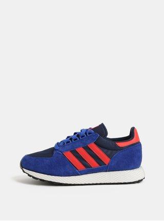 Červeno-modré pánské tenisky se semišovými detaily adidas Originals Forest Grove