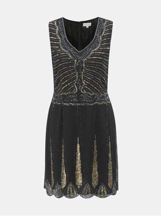 Čierne šaty s ozdobnými korálkami a flitrami Apricot