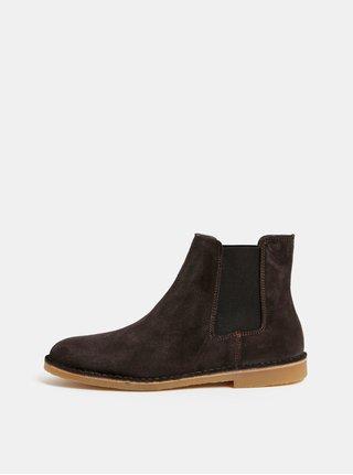 Tmavě hnědé pánské semišové chelsea boty Selected Homme Royce