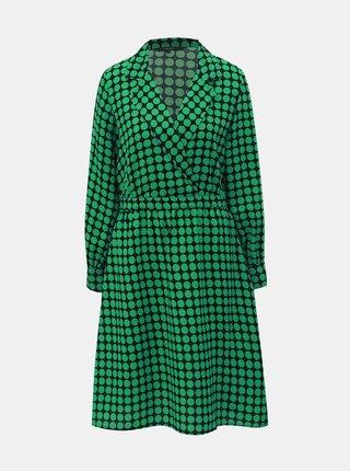 Černo-zelené puntíkované šaty s překládaným výstřihem VERO MODA Sarah