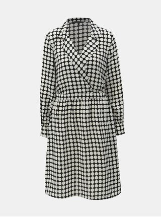 Černo-bílé puntíkované šaty s překládaným výstřihem VERO MODA Sarah