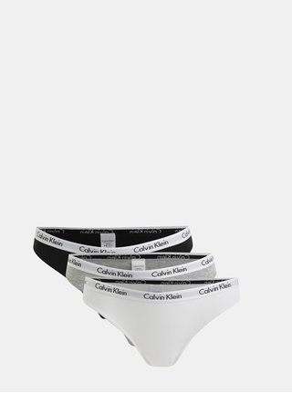 Balenie troch nohavičiek v bielej, sivej a čiernej farbe Calvin Klein Underwear