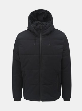 Jacheta neagra impermeabila de iarna cu gluga Jack & Jones