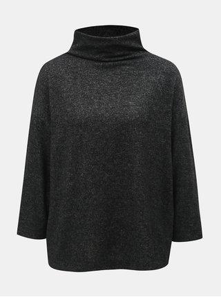 Černý žíhaný svetr s rolákem s 3/4 rukávem Jacqueline de Yong