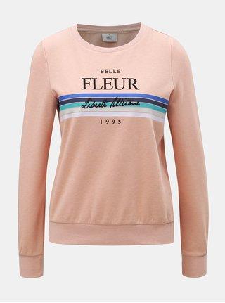 Bluza sport roz prafuit cu imprimeu ONLY