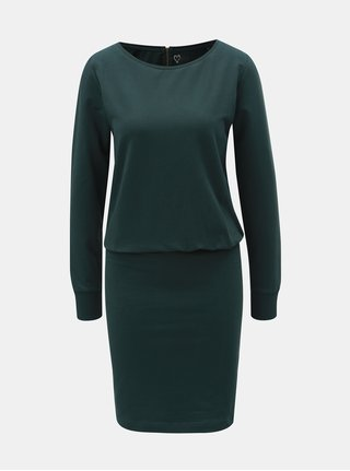 Tmavě zelené pouzdrové šaty s dlouhým rukávem ONLY