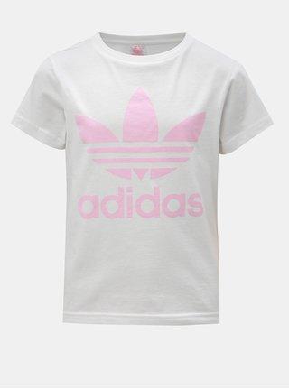 Biele dievčenské tričko s potlačou adidas Originals