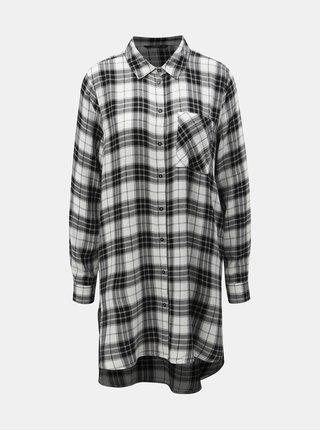 Černo-bílá dlouhá károvaná košile ONLY