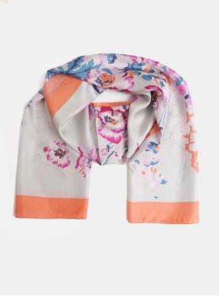 Oranžovo-šedý dámský květovaný hedvábný šátek Tom Joule