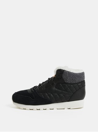 Pantofi sport scurti negri de dama de iarna din piele Reebok Classics