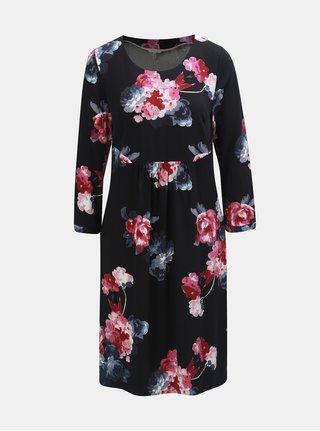 Růžovo-černé dámské květované šaty s 3/4 rukávem Tom Joule