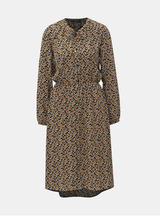 Horčicovo–čierne kvetované košeľové šaty ONLY