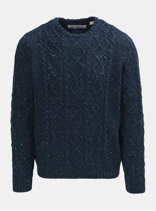 Tmavě modrý žíhaný vlněný svetr Original Penguin