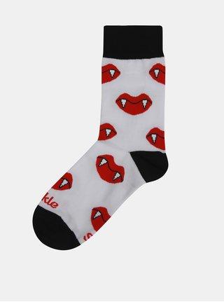 Červeno–biele unisex ponožky s motívom upírích zubov Fusakle