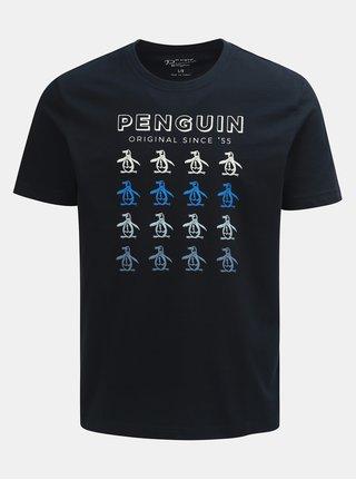 Tmavomodré tričko s krátkym rukávom a potlačou Original Penguin