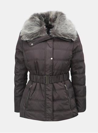 Šedá zimní bunda s odnímatelným límcem z umělé kožešiny Dorothy Perkins