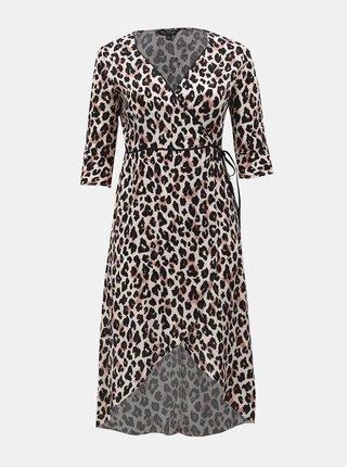 Černo-béžové zavinovací šaty s leopardím vzorem Miss Selfridge