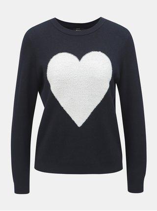 Bielo–modrý sveter s motívom srdca ONLY