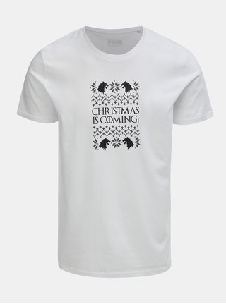 Tricou barbatesc alb cu imprimeu ZOOT Original Christmas is coming