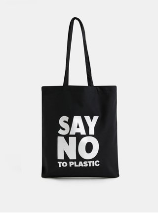 Čierna plátenná taška s potlačou ZOOT Original Say no to plastic