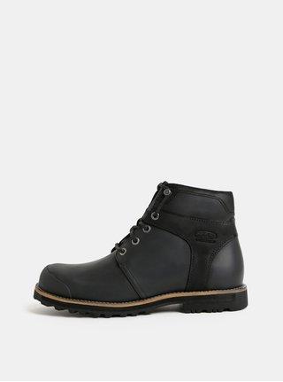 Čierne pánske kožené nepremokavé členkové topánky Keen Rocker