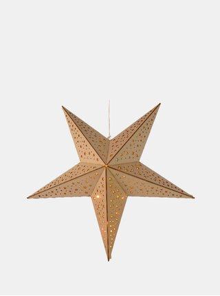 Decoratie din lemn cu LED maro deschis cu motiv stelute Kaemingk
