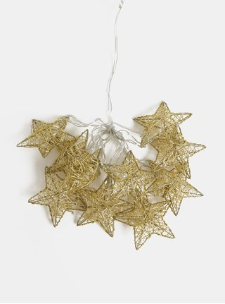 Lant cu lumini LED in forma de stele aurii Kaemingk