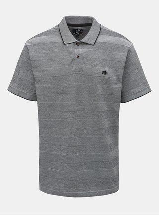 Šedé žíhané pruhované polo tričko s krátkým rukávem Raging Bull