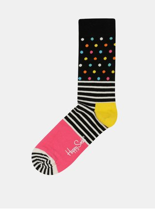 Sosete Happy Socks Stripe Dot de dama negre cu buline roz