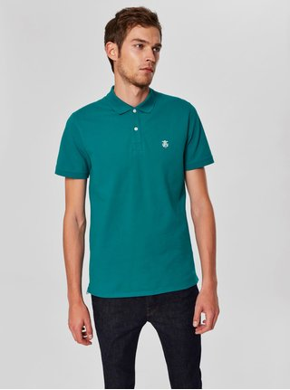 Tyrkysové polo tričko s výšivkou Selected Homme Haro