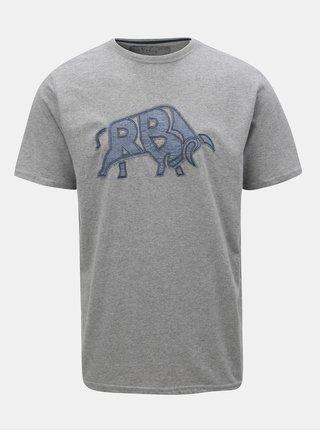 Šedé žíhané tričko s nášivkou Raging Bull