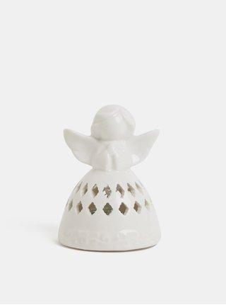 LED světelná porcelánová dekorace ve tvaru anděla s motivem kosočtverců Kaemingk
