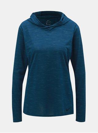 Modré dámské žíhané funkční tričko s dlouhým rukávem a kapucí Nike
