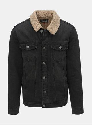 Tmavosivá rifľová bunda s umelou kožušinkou Blend