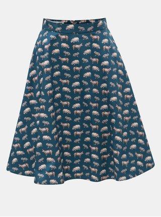 Petrolejová sukňa s motívom hrocha annanemone