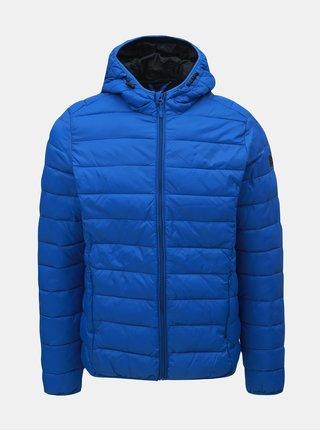 Modrá prošívaná bunda s kapucí Blend