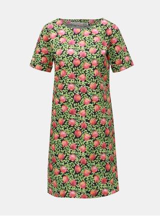 Červeno-zelené šaty s motivem granátových jablek annanemone