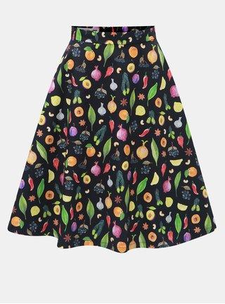 d1ea70160b89 Oranžovo–čierna sukňa s motívom ovocia a zeleniny annanemone