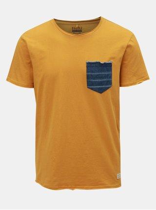 Hořčicové tričko s džínovou kapsičkou Blend