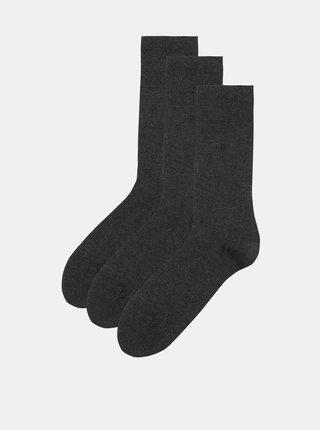 Súprava troch pánskych ponožiek v sivej farbe CR7