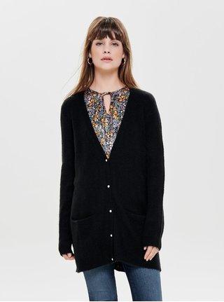 Cardigan lung negru cu amestec de lana Jacqueline de Yong Indiana