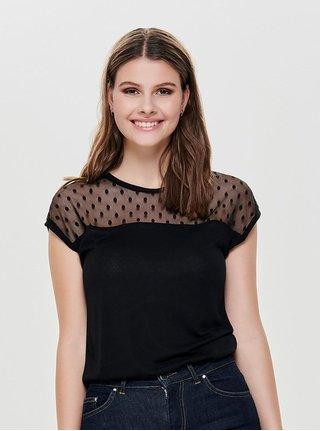 Tricou negru cu plasa in partea de sus ONLY Kirsty