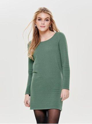 Zelené mikinové žebrované šaty s dlouhým rukávem ONLY Naomi