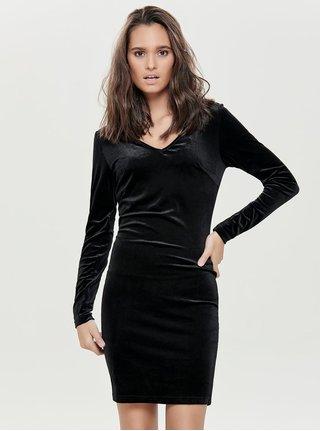 Čierne zamatové šaty s dlhým rukávom Jacqueline de Yong Gorgeous