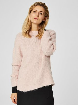 Světle růžový svetr s příměsí vlny Selected Femme Fregina