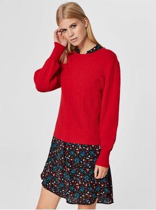Červený svetr s balónovými rukávy Selected Femme Phillipa