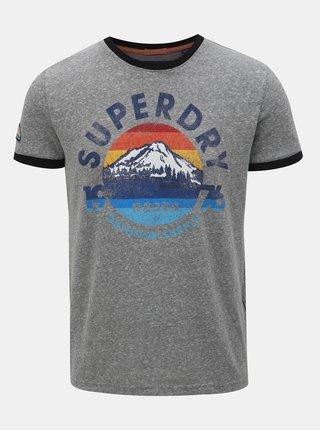 Tricou barbatesc gri inchis melanj cu imprimeu Superdry