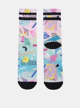 Růžové dámské ponožky s tropickým vzorem American socks