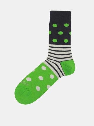 Modro-zelené puntíkované unisex ponožky Fusakle Guľkopásik greenhorn